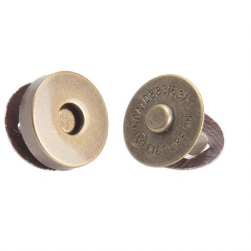 Magnetic Bag Clasp - 14mm Antique Brass